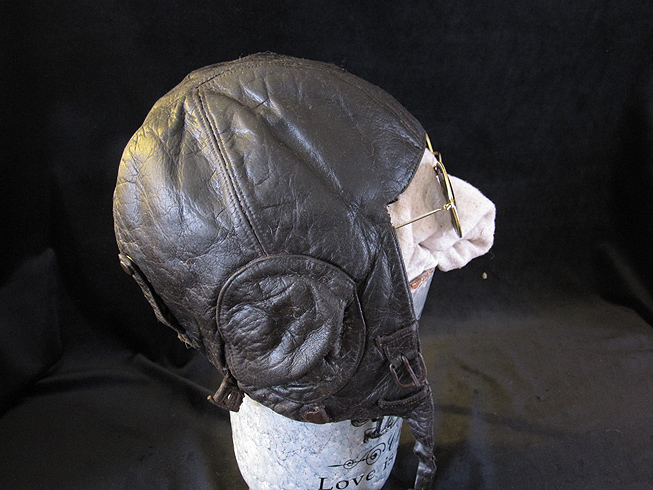 WW11 German Luftwaffe Leather Winter Flight Helmet.Ref.#G