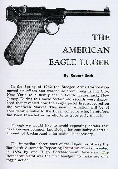 Luger Pistol Manual (English Text) Luger Manual. Ref. #F11