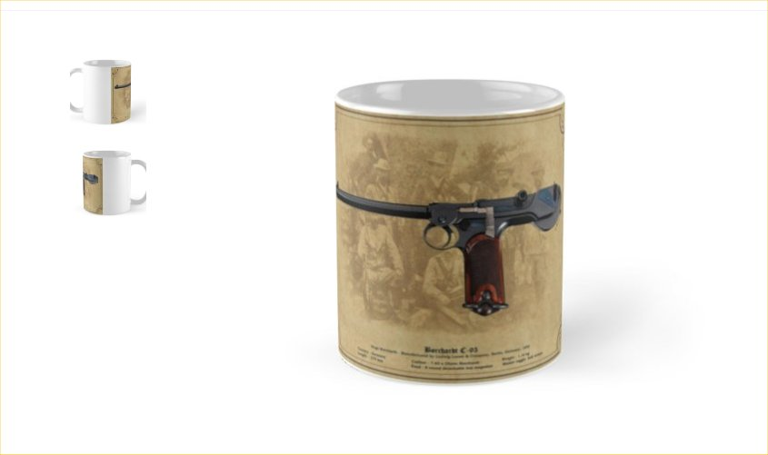 Borchardt C93 Pistol Coffee/Tea mug Gift. Ref.#1bp