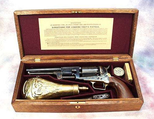 Colt 1850 Model Vintage Dragoon Percussion Pistol Wood Gun Case.