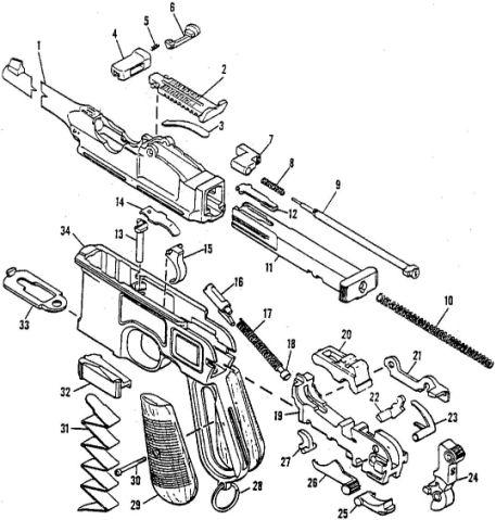 cmr classic firearms broomhandle mauser c96 pistol parts ref f3b