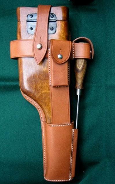 C96 Broomhandle Pistol WW1 Full Leather Harness. Ref.#E6cr