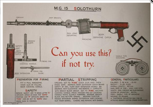 9mm German M.G.15 Solothurn Machine Carbine Poster.Ref.#HK2