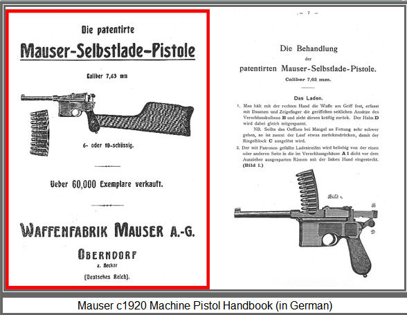 C96 Mauser c1920 Machine Pistol Handbook (in German). Ref.#KP.1