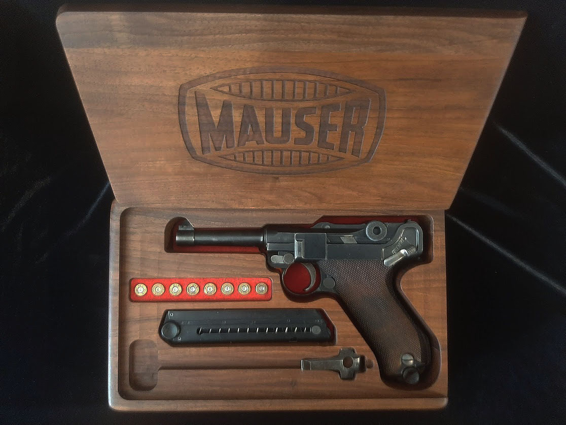 Mauser Luger Marked wood Display Case. Ref.#02dc