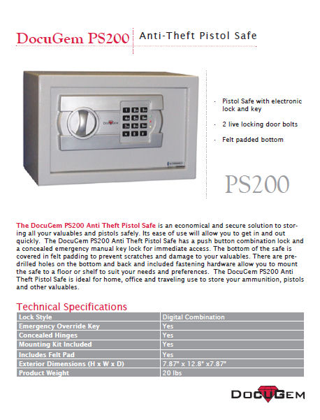 DocuGem Anti Theft Pistol Safe. Prod.Ref# PS200