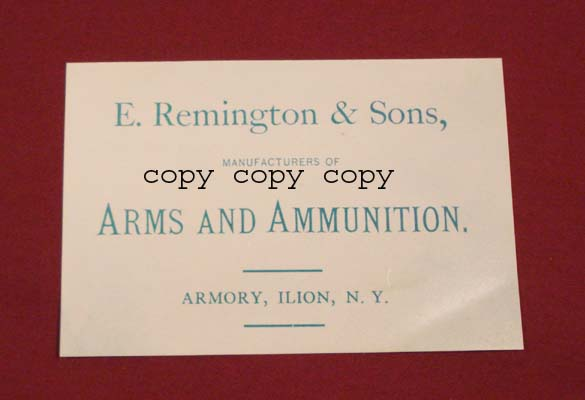Remington Percussion Gun Case Label. Order Ref. # 02ws