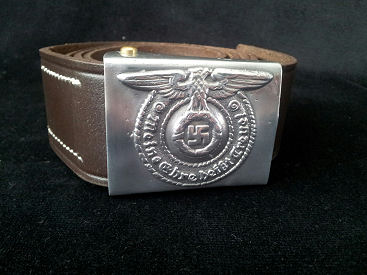 WW11 Luger Pistol Belt Leather Belt & Buckle.Ref#GA.2
